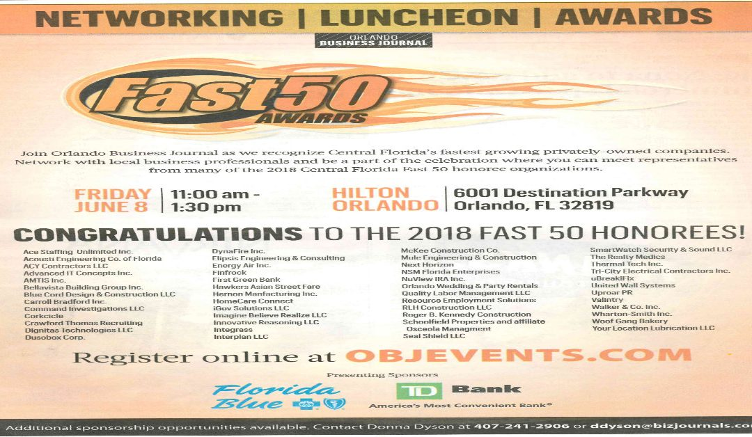 McKee Construction Co. Named a Fast 50 Honoree by the Orlando Business Journal